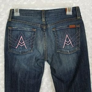 7FAM Womens Size 26 Flare Jeans Pink Stitch